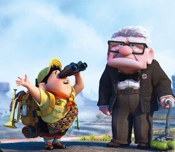 Russell y el señor Fredricksen en plena aventura