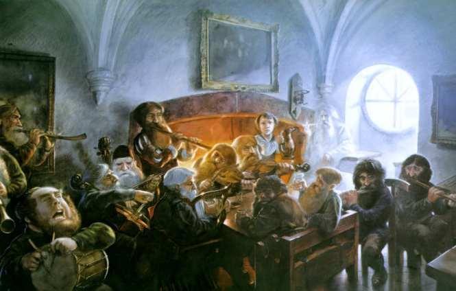 Una visita inesperada. lustracion de John Howe